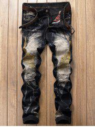 Vintage Wings Embroidery Ripped Jeans