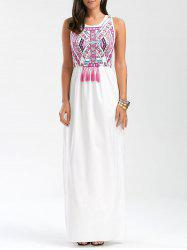 Tassel Totem Print Sleeveless Maxi Prom Dress