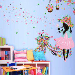 Girl with Floral Bike Decorative Wall Stickers