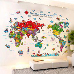 Cartoon The World Map Wall Stickers For Children