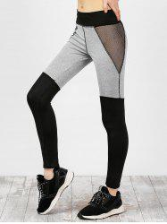 Mesh Panel Color Block Yoga Leggings