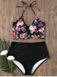 Tiny Floral Halter High Waisted Bikini Set - BLACK
