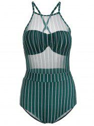 Mesh Striped Underwire One Piece Swimsuit