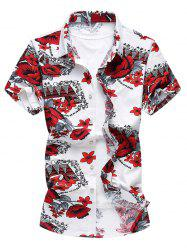 Floral Print Short Sleeves Hawaiian Shirt