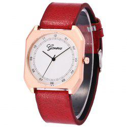 Faux Leather Strap Number Wrist Watch -