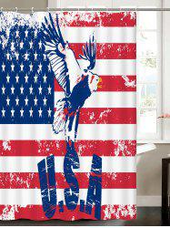Patriotic American Flag Eagle Water Resistant Fabric Bath Curtain - MULTICOLOR