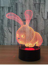 3D Visual Color Change Rabbit Shape Touch Night Light - TRANSPARENT