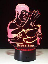 LED 3D Bruce Lee Changement de couleur Touch Night Light - Transparent
