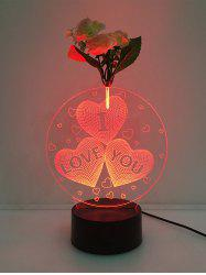 3D Heart I Love You Flower Decorated LED Color Change Night Light - TRANSPARENT