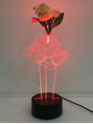 Changement de couleur 3D Flower Touch Night Light - Transparent