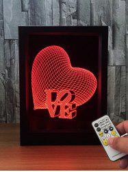 3D Visual Heart Love LED Color Change Night Light