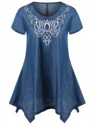 Asymmetric Embroidery Denim T-Shirt