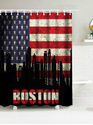Drapeau américain BOSTON Word Polyester Waterproof Shower Curtain