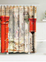 Vintage Building Mailbox Water Resistant Fabric Bath Curtain