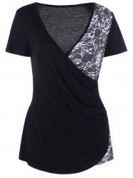 Lace Insert V Neck Surplice Tee