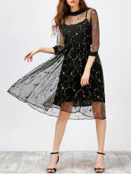 Floral Embroidered Lace A Line Midi Dress and Cami Dress