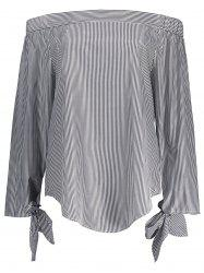 Off The Shoulder Striped Self Tie Blouse