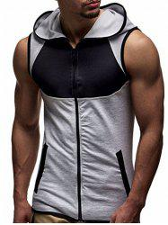Zip Up Contrast Trim Hooded Vest -