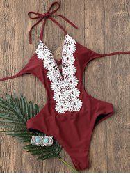 Lace Insert Backless Halter Monokini