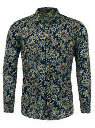 Long Sleeves Paisleys Print Shirt  - PURPLISH BLUE