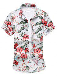 Flowers Pattern Short Sleeve Hawaiian Shirt