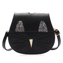Cat Shaped Sequin Panel Crossbody Bag