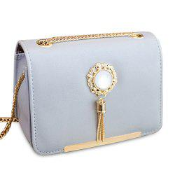 Chain Tassel Crossbody Bag - BLUE GRAY