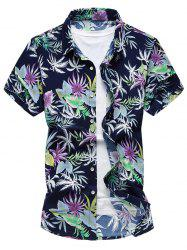 Hawaiian Short Sleeve Multi Leaves Printed Shirt