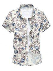 Floral Pattern Short Sleeves Hawaiian Shirt