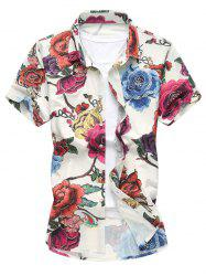 Floral Printed Short Sleeve Hawaiian Shirt