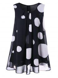 Polka Dot Plus Size Chiffon Flowy Blouse - BLACK