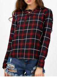 Lace Up Grommet Plaid Blouse