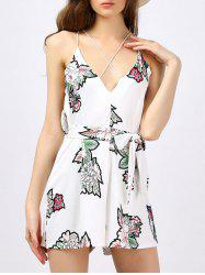 Backless Floral Romper - WHITE