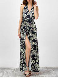 Leaf Print High Slit Backless Halter Neck Long Dress