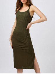 High Slit Sleeveless Tea Length Bodycon Dress