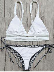 Plunge Bikini Top and Snakeskin String Bottoms