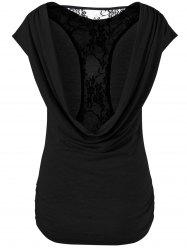 Back Lace Panel Openwork Draped T-Shirt