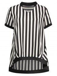 Plus Size Chiffon Stripe Top