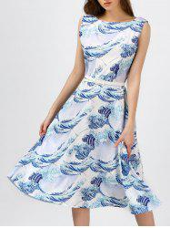 Printed Boat Neck Midi Dress