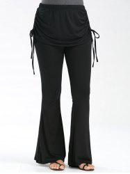 Ruched Lace Up High Waisted Flare Pants - BLACK