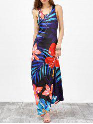 Floral Tropical Racer Back Maxi Tank Dress