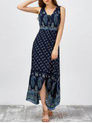 V Neck Paisley Print Beach Maxi High Slit Dress - PURPLISH BLUE