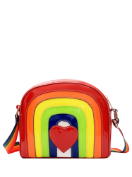 Cross Body Patent Leather Rainbow Bag - RED