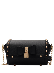 Chain Bowknot Rivet Crossbody Bag