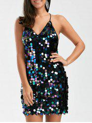 Open Back Sequins Club Slip Dress - BLACK