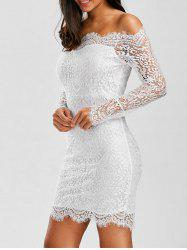 Off Shoulder Scalloped Eyelash Lace Bodycon Dress - WHITE