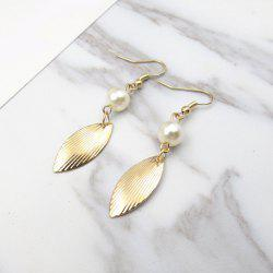 Faux Pearl Leaf Drop Earrings - Or