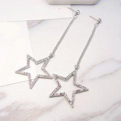Rhinestoned Star Chain Drop Earrings