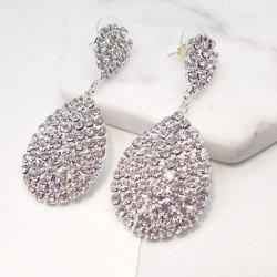 Alloy Rhinestoned Teardrop Earrings -
