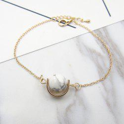 Faux Gem Stone Ball Bead Chain Bracelet